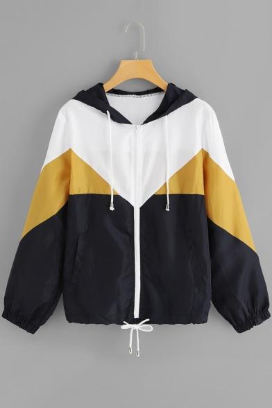 Stylish Zip Closure Color Block Long Sleeve Drawstring Hoodies Windbreaker Jacket