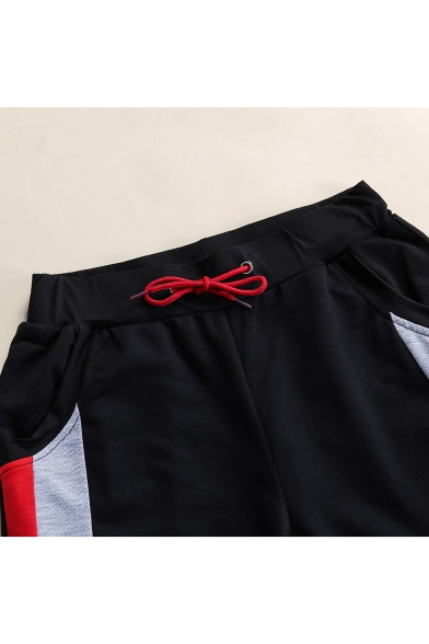 Summer Fashion Striped Side Drawstring Waist Black Casual Active Shorts for Guys