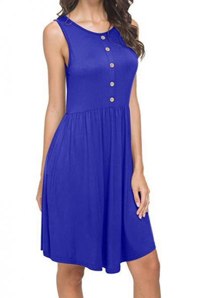 Summer Simple Plain Buttons Embellished Sleeveless Casual Midi Tank Dress with Pockets
