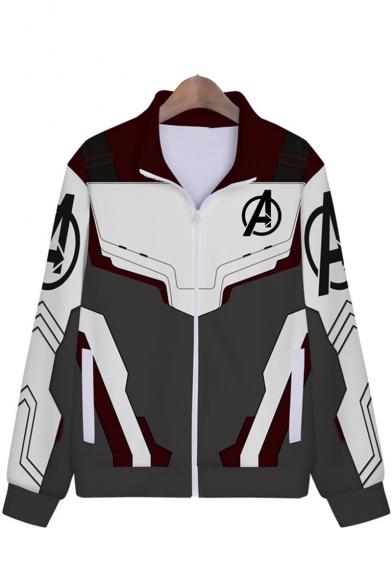 The Avengers 4 Quantum Battle Suit Cosplay Costume Long Sleeve Color Block Zip Up Comic Grey Jacket
