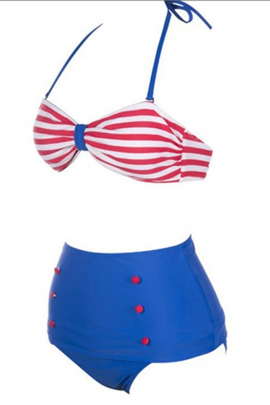 Trendy Halter Neck Color Block Striped Printed Button Front Blue Sexy Bikini