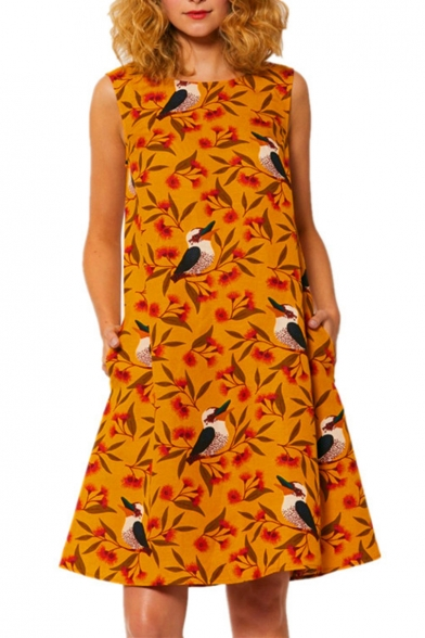 Vintage Birds Floral Printed Sleeveless Yellow Cotton and Linen Midi Tank Dress