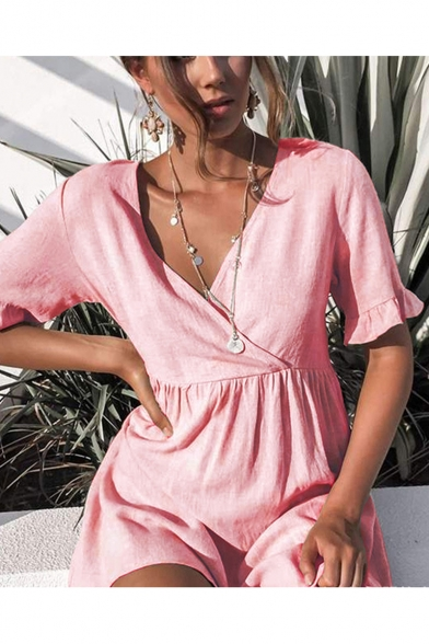 Women's Simple Solid Color V-Neck Ruffled Sleeve Mini Linen A-Line Pleated Dress