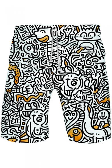 Comic Funny Face Graffiti Drawstring Waist Loose Casual White Athletic Shorts