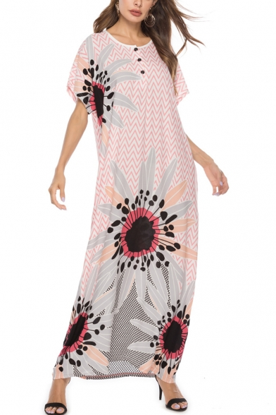 Boho Style Wave Striped Floral Print Round Neck Buttons Front Short Sleeve Pink Cotton Maxi T-Shirt Dress