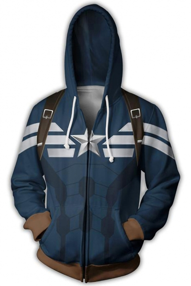 Captain America Cosplay Long Sleeve Loose Fit Zip Up Blue Hoodie