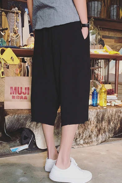 Chinese Style Retro Drawstring Waist Summer Linen Dropped Crotch Plain Cropped Pants for Guys