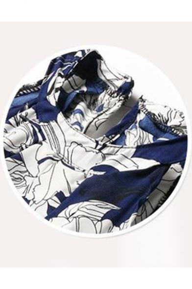 Ethnic Floral Pattern Halter Neck Sleeveless Chiffon Midi Cami Beach Dress