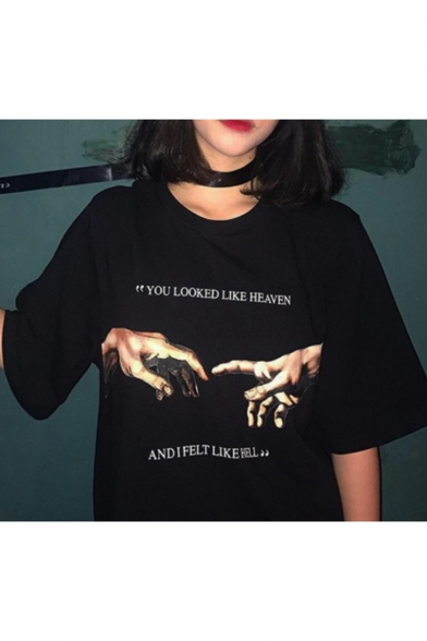 Fashion Hand Letter Printed Round Neck Short Sleeve Loose Fit Black T-Shirt