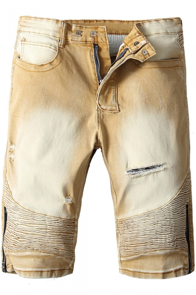 Men's Vintage Distressed Ripped Zip Side Pleated Detail Fitted Khaki Denim Shorts