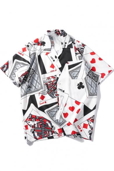 Mens New Fashion Summer Funny Poker Printed Notched Lapel Collar White Holiday Hawaiian Shirt