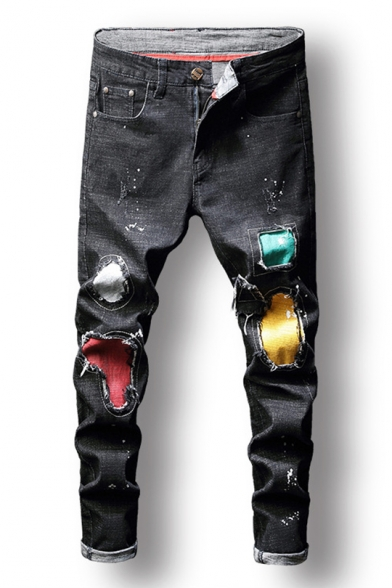 Mens New Trendy Colorful Applique Patched Slim Fit Black Ripped Jeans