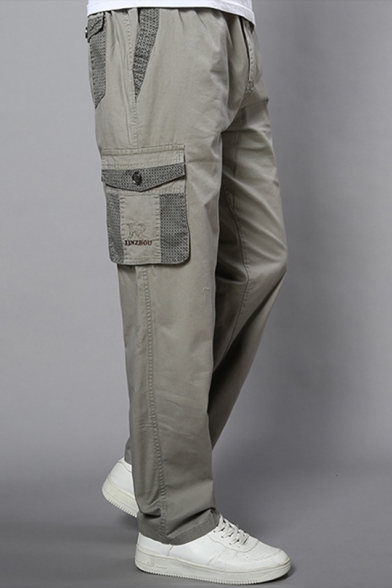 Mens New Trendy Simple Plain Elastic Waist Loose Casual Straight Cotton Cargo Trousers