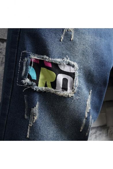 Mens Street Fashion Applique Destroyed Ripped Rolled-Cuff Dark Blue Denim Shorts