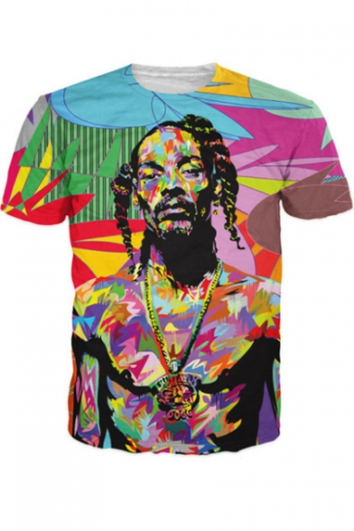 American Rapper Colorful Painting Figure Printed Short Sleeve Summer T-Shirt