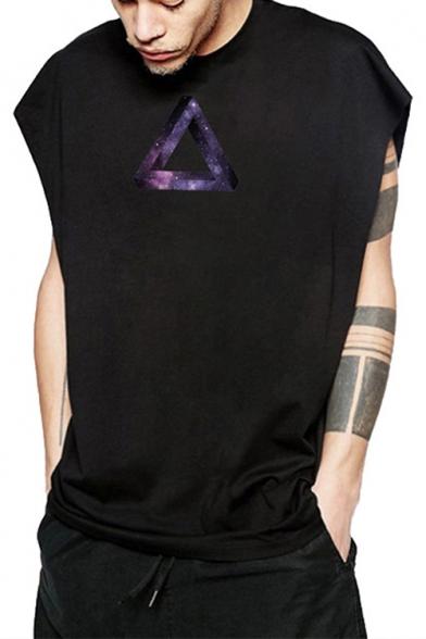 Street Style Galaxy Triangle Printed Sleeveless Unisex Cotton Tank