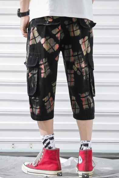 Summer Fashion Plaid Colorblocked Zip Fly Guys Casual Sport Cargo Shorts