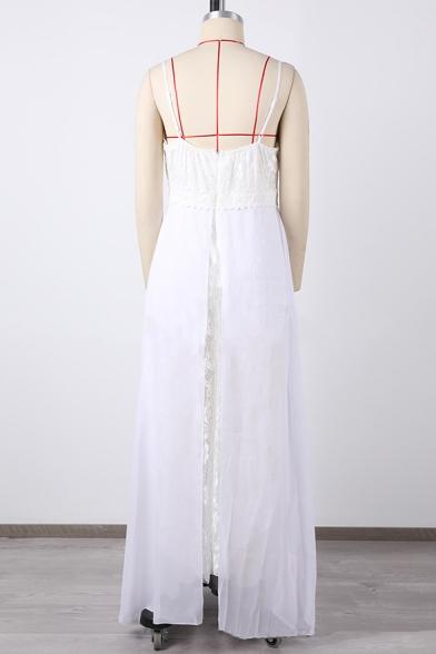 Summer New Stylish Solid Color V-Neck Split Front Maxi White Slip Dress