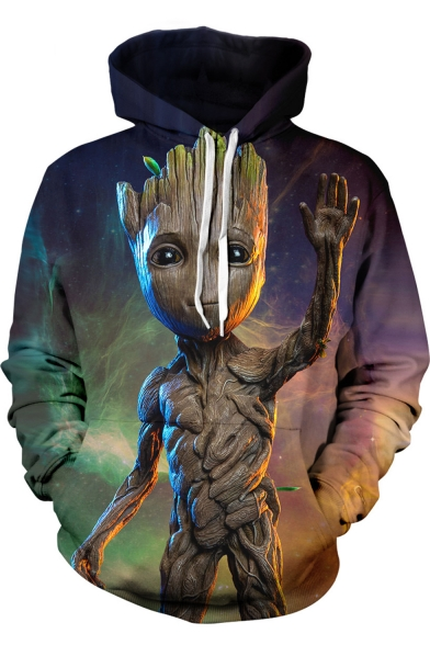 The Avengers 3 Groot Cool 3D Figure Printed Long Sleeve Relaxed Purple Drawstring Hoodie