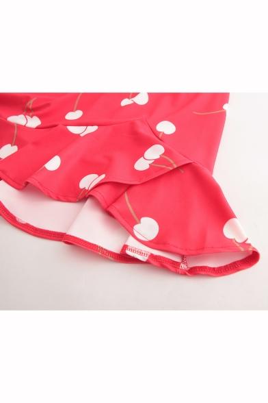 Womens Stylish Cherry Printed Spaghetti Straps Ruffled Hem Red Mini Slip Dress