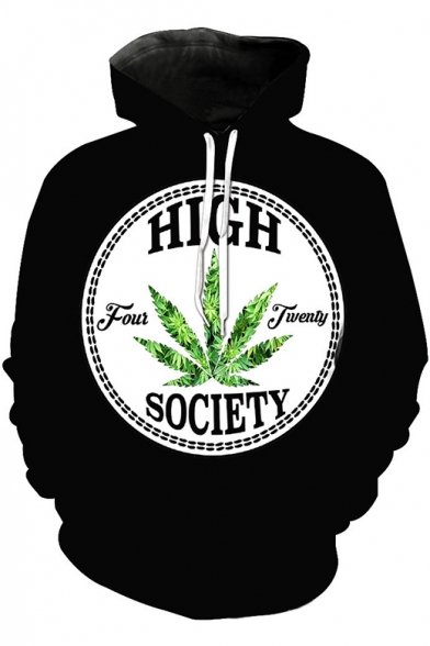 Cool HIGH SOCIETY Letter Leaf Weed Printed Long Sleeve Loose Fit Black Pullover Hoodie with Pockets