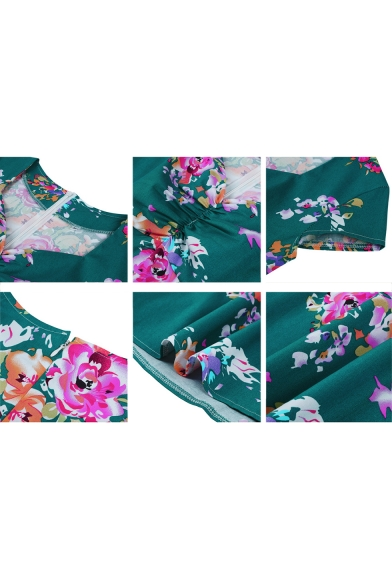 Elegant Vintage Style Floral Printed Short Sleeve Green Midi Flare Dress