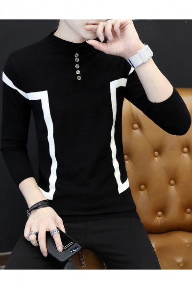 Guys New Stylish Mock Neck Button Patched Color Block Long Sleeve Slim Fit Sweater