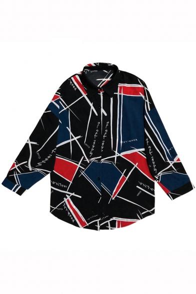 Hip Hop Street Style Graffiti Pattern Lapel Collar Long Sleeve Loose Chiffon Shirt