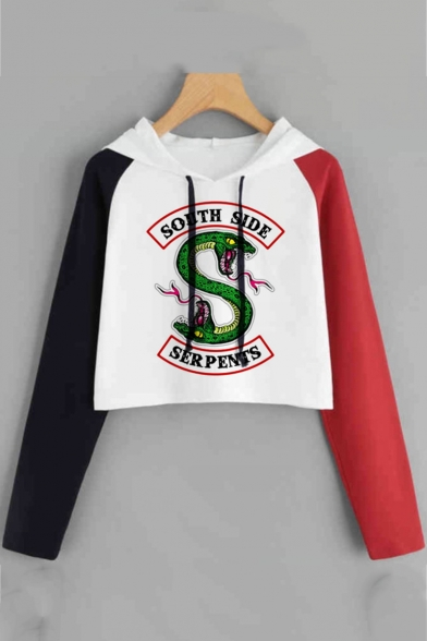 Hot Popular Snake Logo Print Colorblocked Long Sleeve Cropped Drawstring Hoodie