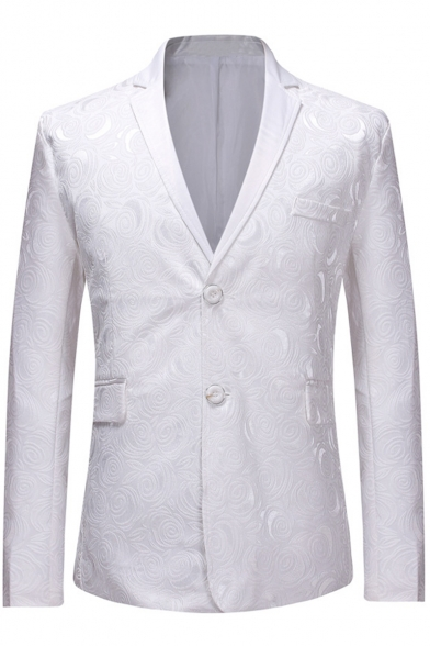 Men's Jacquard Floral Pattern Long Sleeve Notched Lapel Collar Double Button White Prom Tuxedo Suit