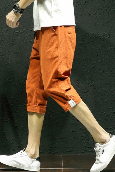 Mens Summer Comfortable Linen Casual Loose Rolled Hem Fitted Cropped Pants