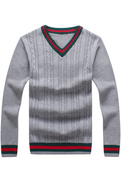Mens Vintage Green and Red Striped Trim Long Sleeve V-Neck Knit Sweater