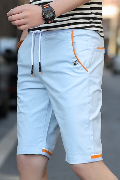 New Fashion Contrast Trim Drawstring Waist Cotton Loose Sport Shorts for Guys