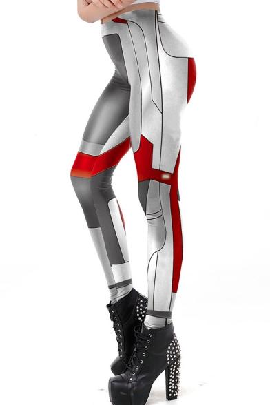 New Popular Quantum Battle Suit Cosplay Costume Elastic Waist Grey Skinny Fit Leggings