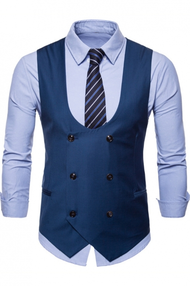 New Trendy Solid Color Double Breasted Collarless Suit Vest for Men