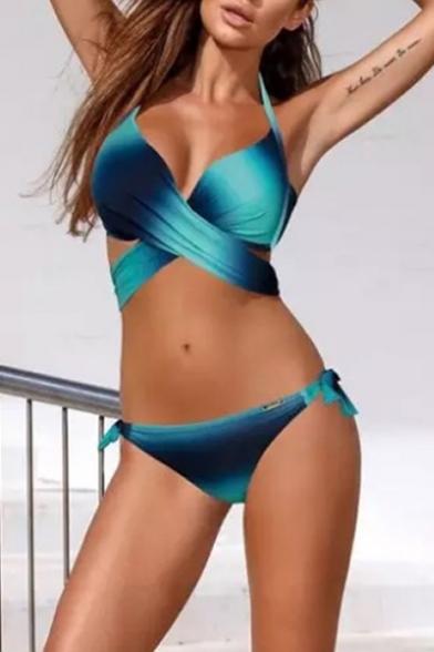 Omber Colorblocked Crisscross Halter String Side Bottom Bikini Swimwear