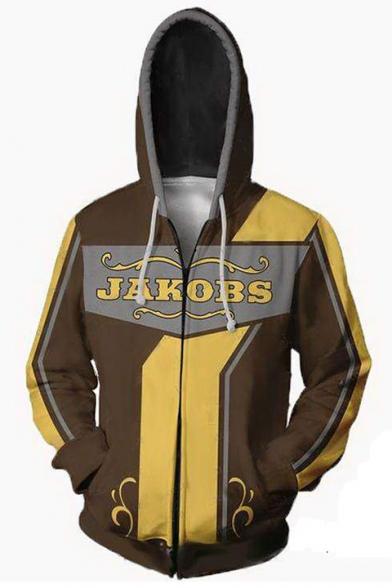 Popular Game 3D Cosplay Costume Letter JAKOBS Long Sleeve Zip Up Hoodie in Khaki
