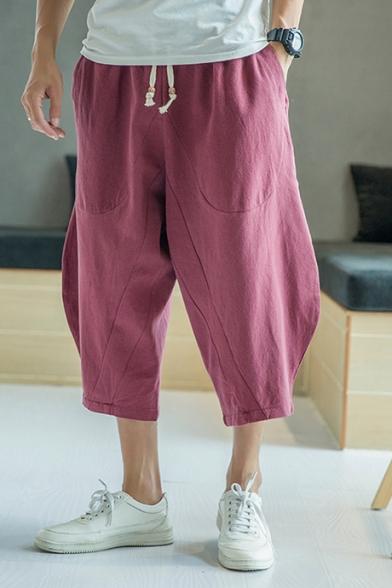 Retro Chinese Style Linen Simple Plain Drawstring Waist Cropped Wide-Leg Harem Pants for Men