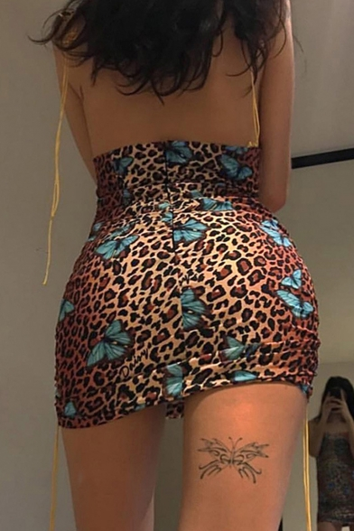 Sexy Fashion Butterfly Leopard Print Spaghetti Straps Tied Ruched Side Mini Bodycon Dress