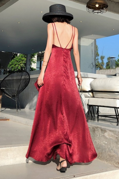 Sexy Spaghetti Straps Sleeveless Open Back V-Neck Split Asymmetric Hem Burgundy Maxi Cami Dress