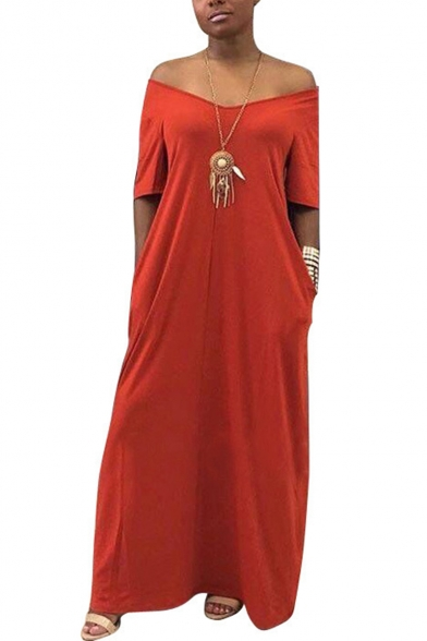Simple Plain Loose Casual Short Sleeve Maxi T-Shirt Dress with Pockets