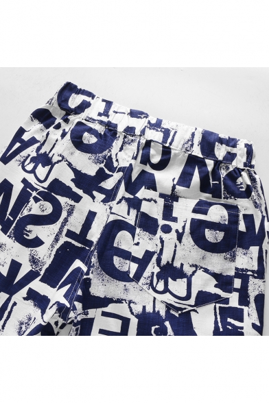 Stylish Letter Graffiti Drawstring Waist Cotton Loose Blue Swim Shorts for Guys