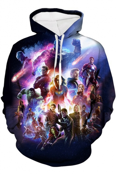 Fashion 3D Character Printed Long Sleeve Purple Drawstring Hoodie
