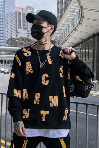 9b4a6c94e218 ... Unisex Hip Hop Style Letter Printed Long Sleeve Casual Fake Two-Piece  Sweatshirt ...