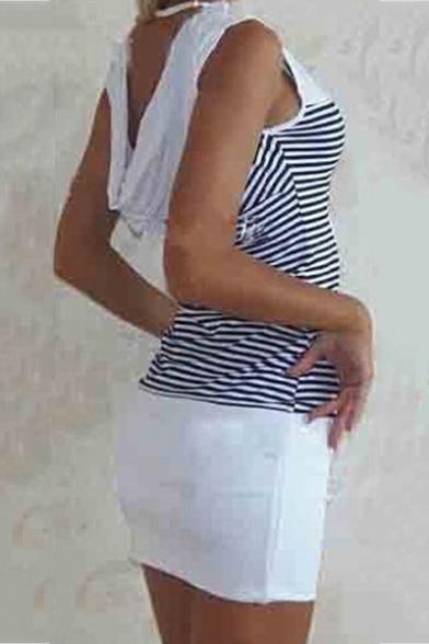 Women's Sexy Hot Fashion Stripes Ship Anchors Printed Slim Mini Bodycon Dress