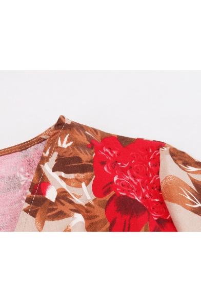 Women's Summer V-Neck Short Sleeves Allover Floral Pattern Mini A-Line Dress