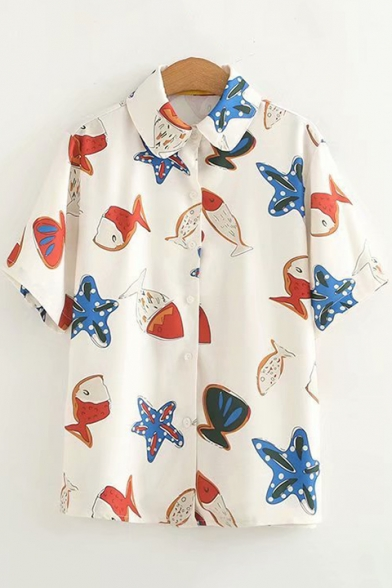 Allover Starfish Fish Pattern Short Sleeve Button Down Apricot Chiffon Shirt