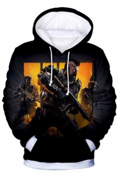 Call of Duty Cool 3D Figure Printed Long Sleeve Black Casual Pullover Hoodie