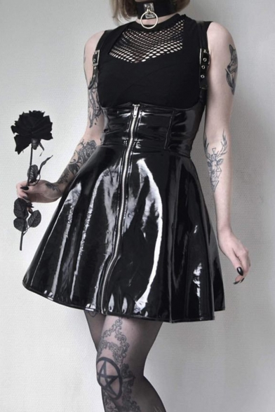 Fashion Cool Plain Straps Sleeveless Zipper Front Black Mini PU Overall Dress