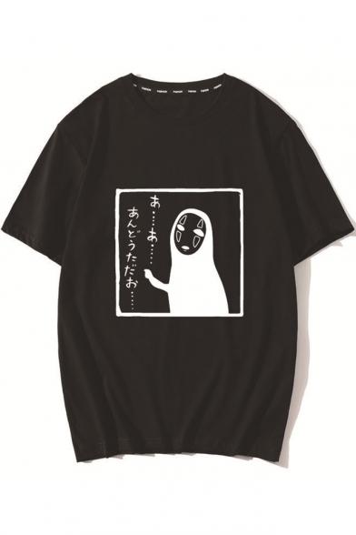 Fashion Kaonashi Pattern Round Neck Half Sleeve Loose Casual T-Shirt